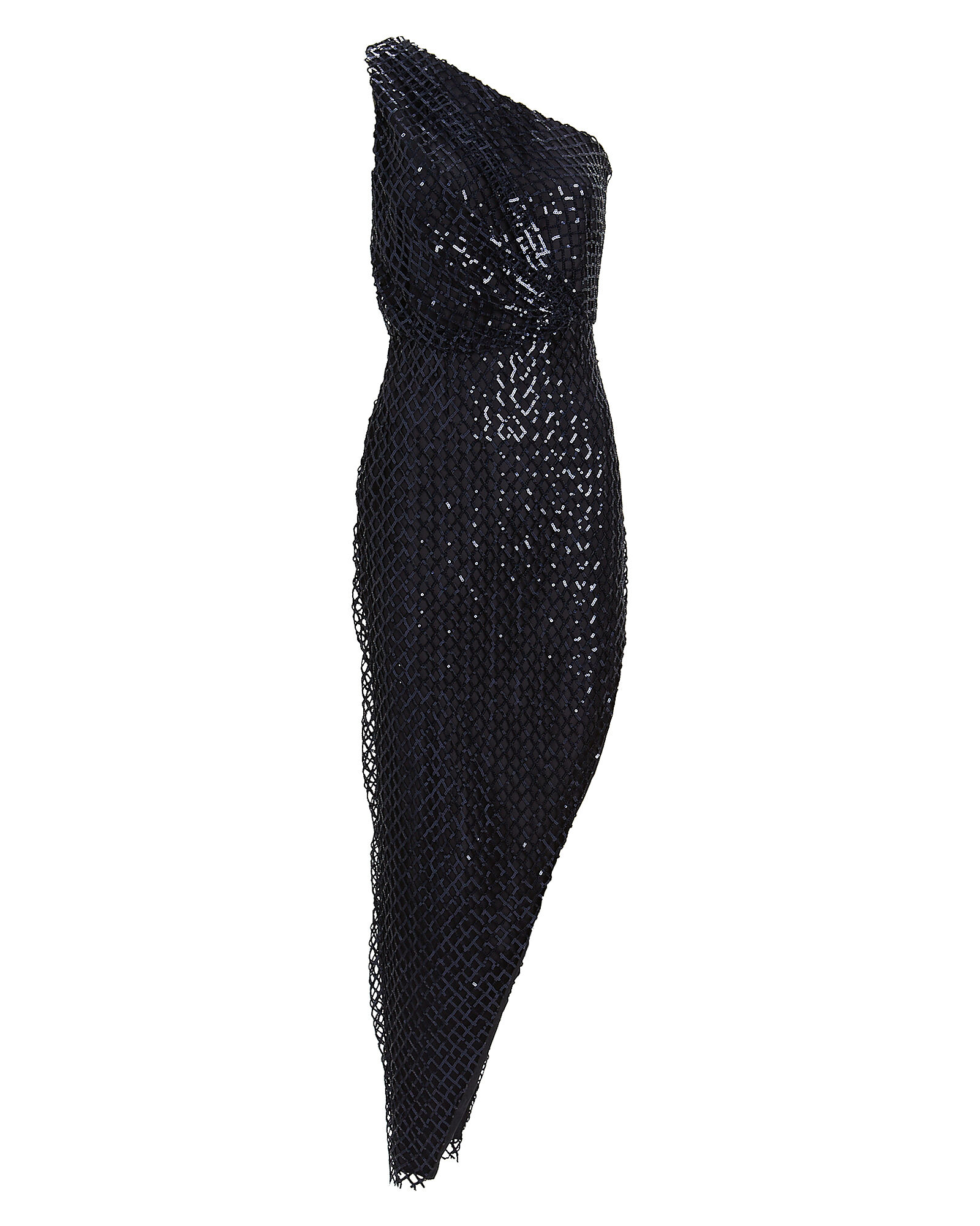 Sequined Netting One-Shoulder Gown, NAVY, hi-res