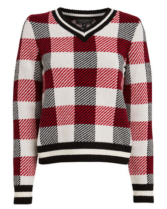 Gabby Checked Wool Sweater, RED/CHECK, hi-res