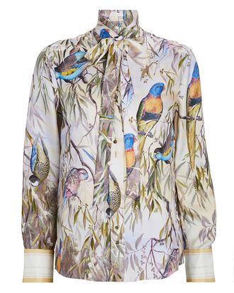 Candescent Printed Silk Shirt, LIGHT PURPLE, hi-res