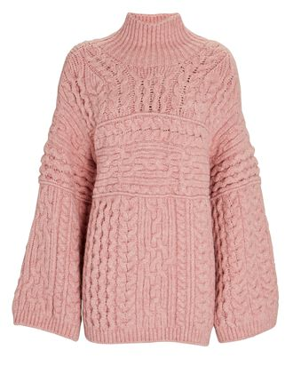 Raw Turtleneck Cable Knit Sweater, PINK, hi-res