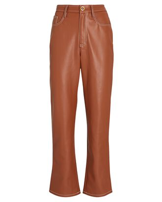 Eli Vegan Leather Straight-Leg Pants, BEIGE, hi-res