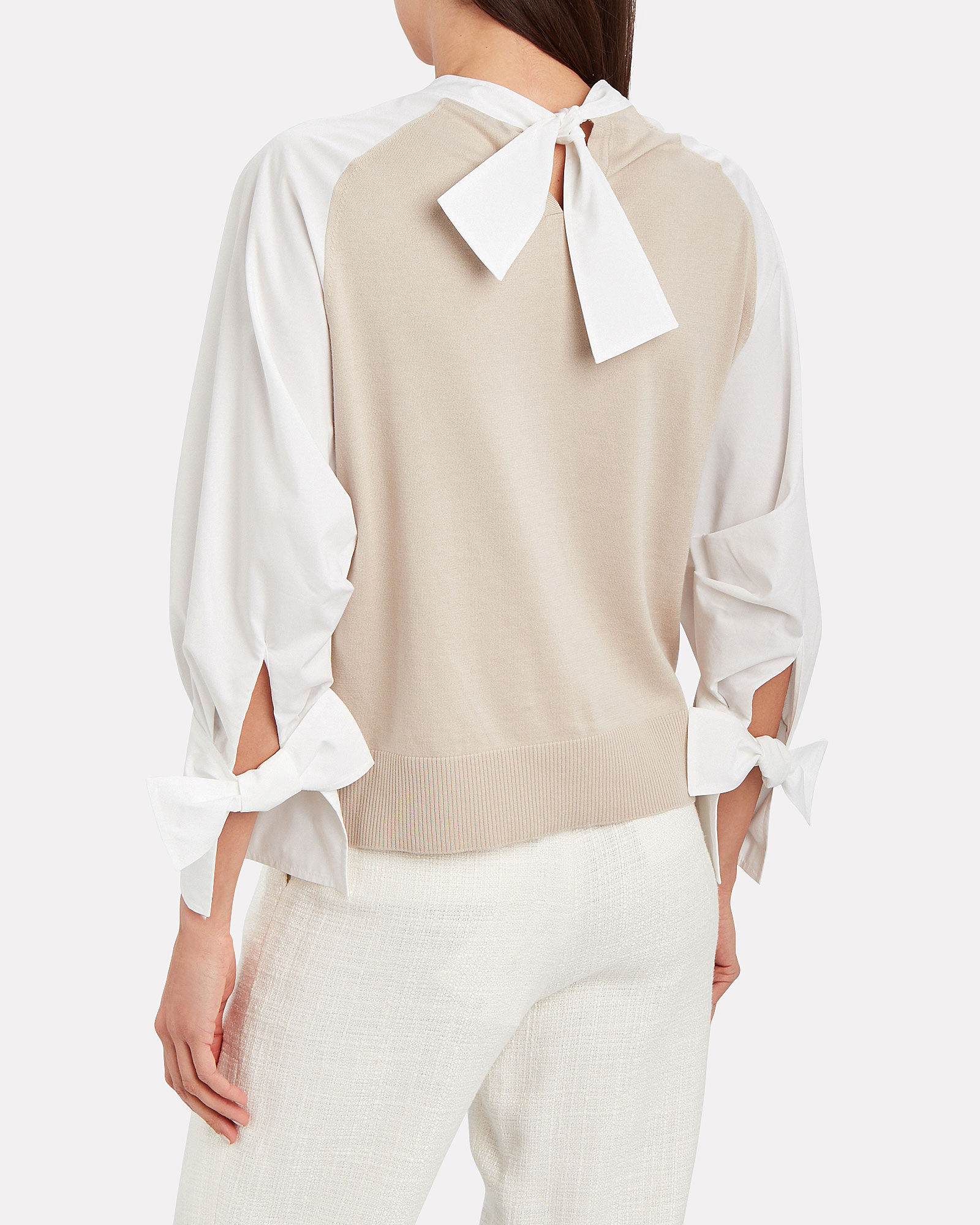 Layered Poplin Bow Sweater, BEIGE/WHITE, hi-res