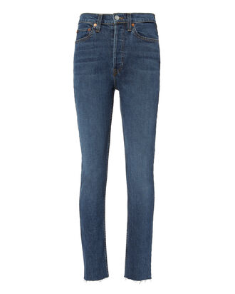 High-Rise Ankle Crop Dark Indigo Jeans, DENIM-DRK, hi-res