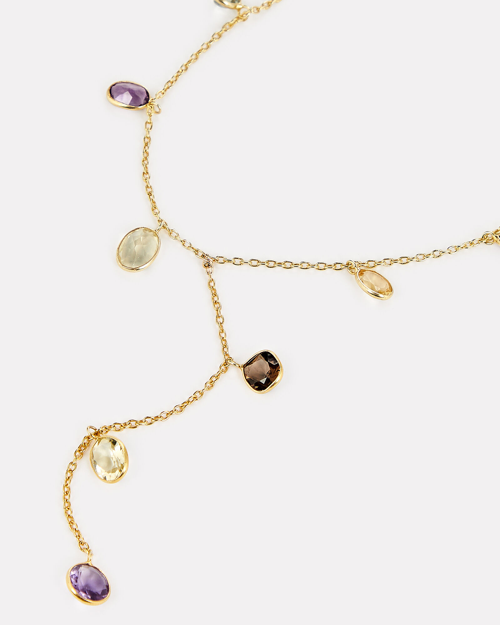 Gemstones Lariat Necklace, GOLD, hi-res