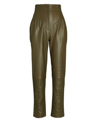 Tapered High-Waist Leather Pants, OLIVE/ARMY, hi-res