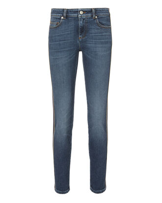 Striped Skinny Cropped Jeans, DENIM, hi-res