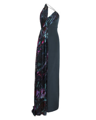 Draped Floral Burnout Gown, NAVY FLORAL, hi-res