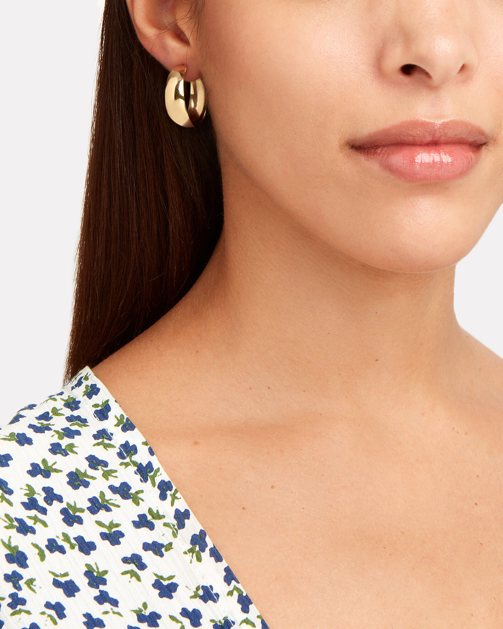 Dome Hoop Earrings, GOLD, hi-res