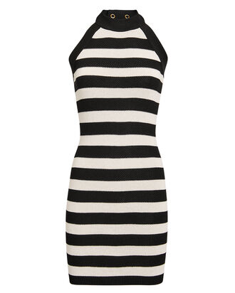 Striped Knit Mini Dress, BLACK/WHITE, hi-res