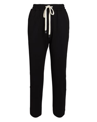 Cropped Taper Twill Sweatpants, BLACK, hi-res