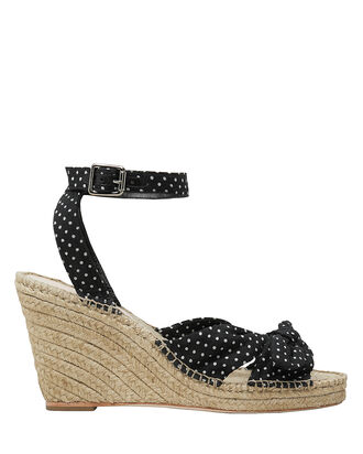 Tessa Polka Dot Wedge Sandals, BLK/WHT, hi-res