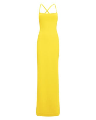 Saruo Cross Strap Yellow Gown, YELLOW, hi-res