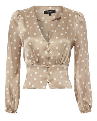 Flora Polka Dot Silk Blouse, BLUSH, hi-res