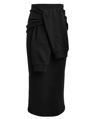 Knot Sleeve Midi Skirt, BLACK, hi-res