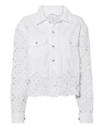 Macrame Denim Cropped Jacket, WHITE, hi-res