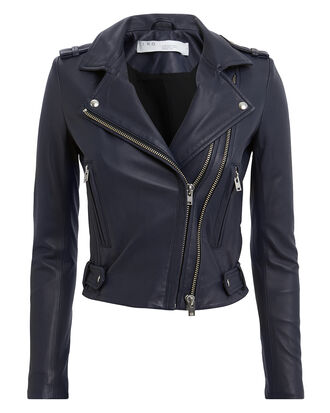 Jett Navy Leather Jacket, NAVY, hi-res