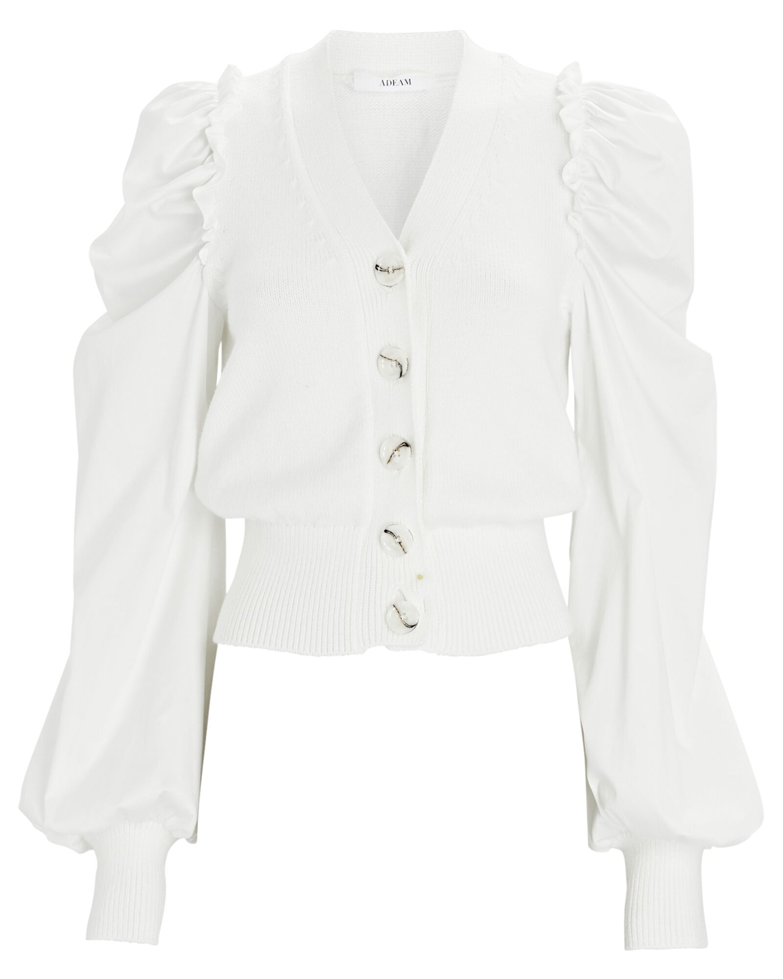 Blossom Puff Sleeve Cardigan, WHITE, hi-res