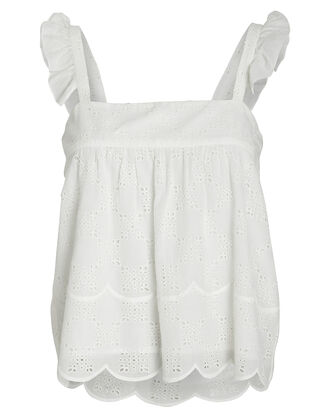 Eyelet Moon Cotton Cami, WHITE, hi-res