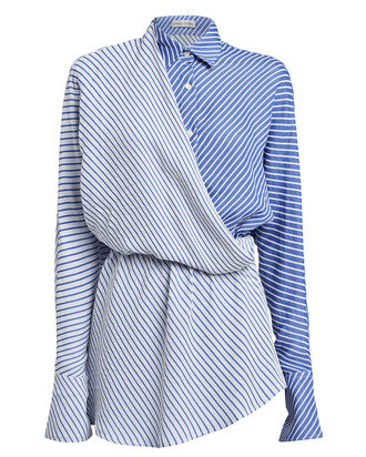 Mirror Striped Surplice Shirt, BLUE/STRIPE, hi-res