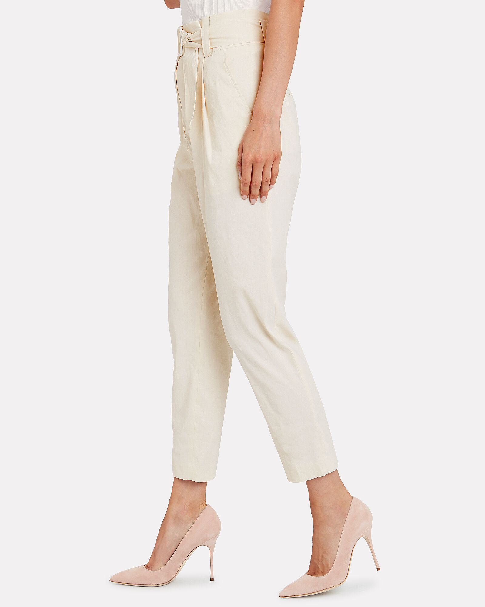 Diego Paperbag Waist Trousers, IVORY, hi-res