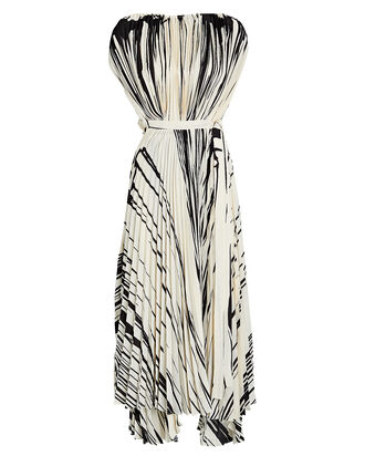 Pleated Brush Stroke Dress, BEIGE/BLACK, hi-res