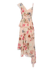 Strappy Ruffle-Trimmed Floral Dress, PINK/FLORAL, hi-res