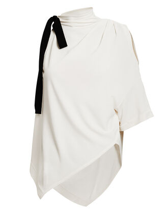 Cold Shoulder Handkerchief Ivory Top, IVORY/NAVY, hi-res
