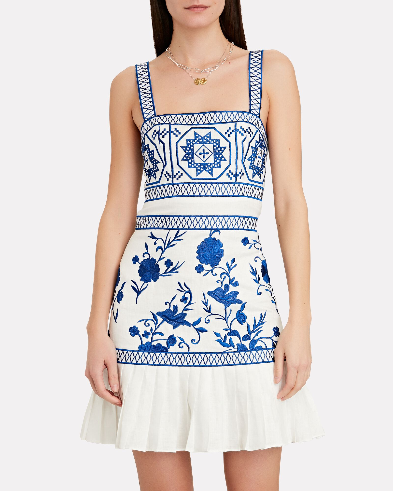Asteria Embroidered Sleeveless Mini Dress, WHITE, hi-res