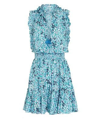 Trinity Ruffled Sleeveless Floral Dress, LIGHT BLUE, hi-res