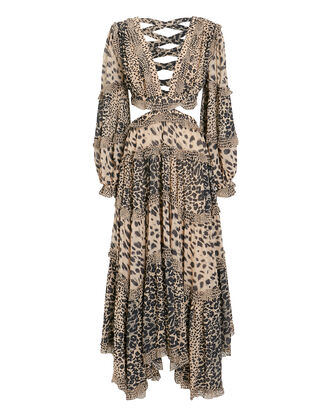 Allia Cut Out Dress, BROWN/CHEETAH, hi-res