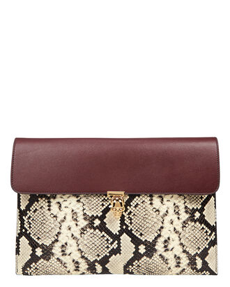 Skull Envelope Leather Clutch, DARK RED/PYTHON, hi-res