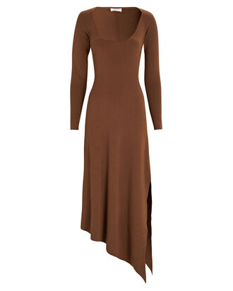 Harvey Asymmetrical Knit Midi Dress, BROWN, hi-res