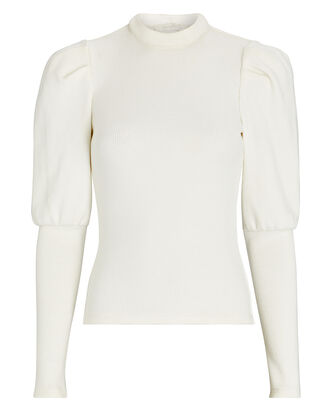 Rib Knit Puff Sleeve Top, WHITE, hi-res