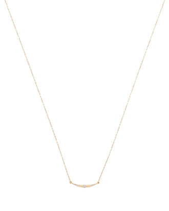 Small Diamond Curved Necklace, GOLD, hi-res