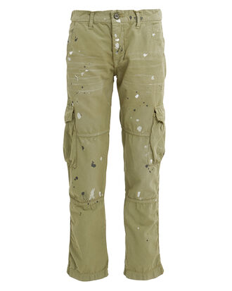 Basquiat Paint Splatter Cargo Pants, OLIVE, hi-res