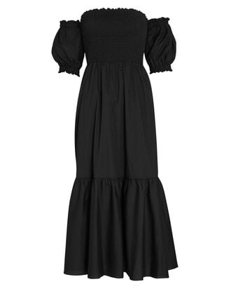 Aubrey Smocked Poplin Midi Dress, BLACK, hi-res