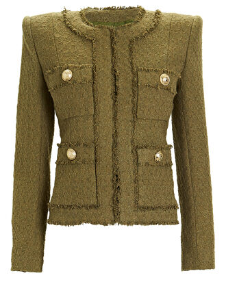 Collarless 7-Pocket Tweed Jacket, OLIVE, hi-res