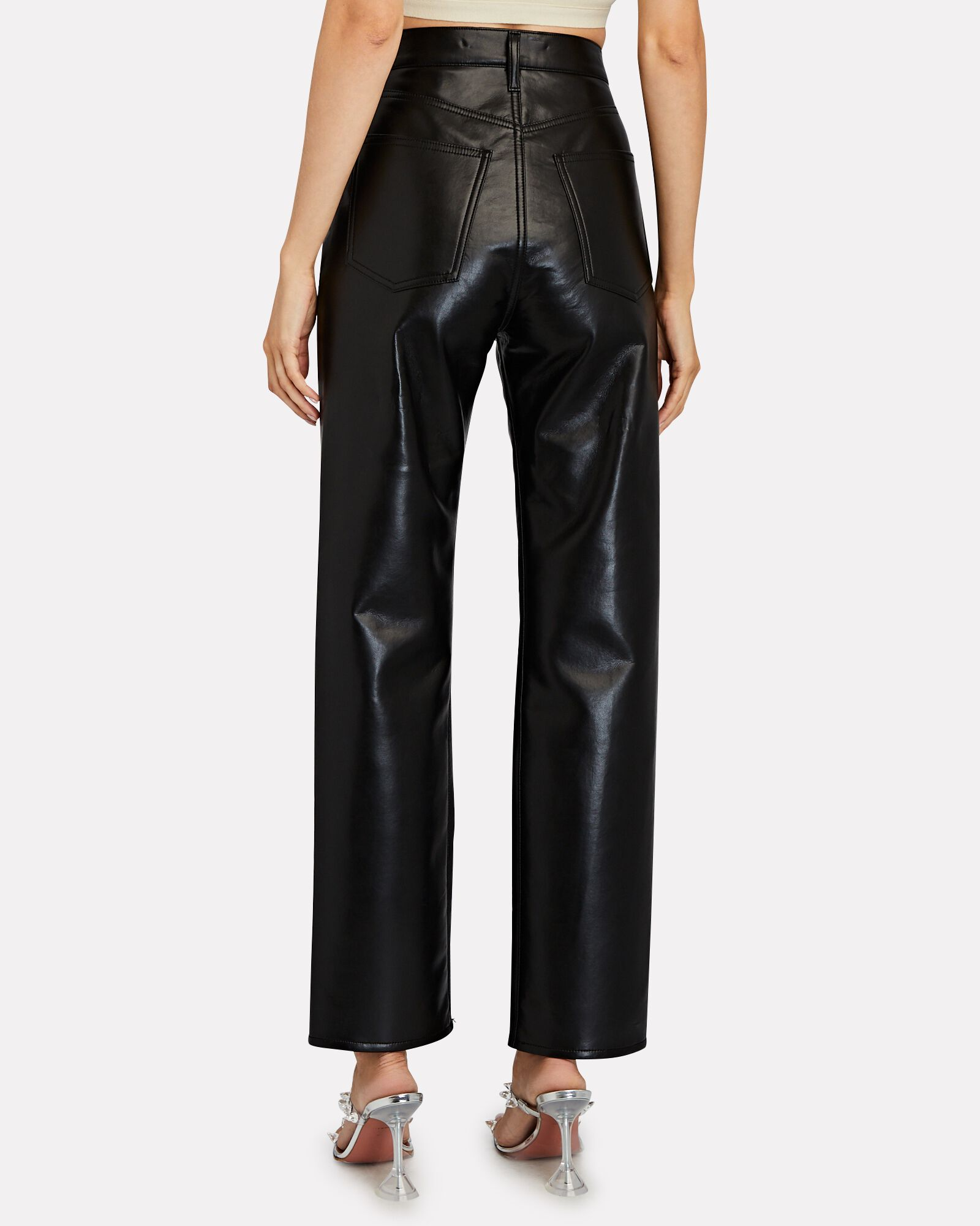 Fitted 90s Recycled Leather Pants, DETOX, hi-res