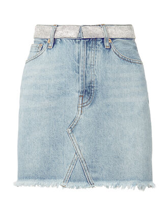 Crystal Waist Denim Mini Skirt, DENIM-LT, hi-res