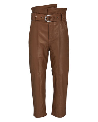 Anniston Leather High-Rise Pants, , hi-res