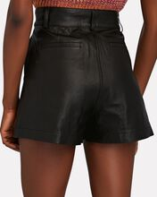 Pleated Leather Shorts, BLACK, hi-res