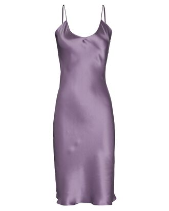 Knee-Length Silk Slip Dress, PURPLE, hi-res