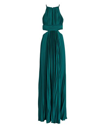 Arianna Pleated Cut-Out Gown, DARK TEAL, hi-res