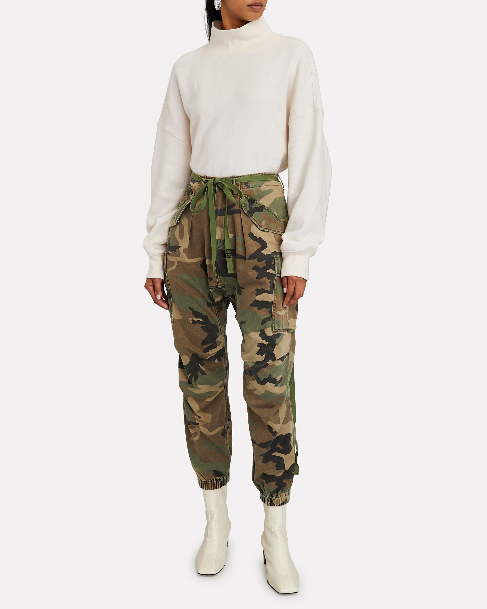 Camouflage Drop Crotch Cargo Pants, OLIVE/BROWN, hi-res