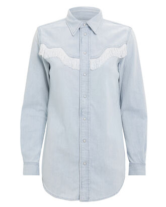 Soft Denim Fringe Shirt, DENIM, hi-res