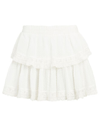Ruffled Cotton Mini Skirt, WHITE, hi-res