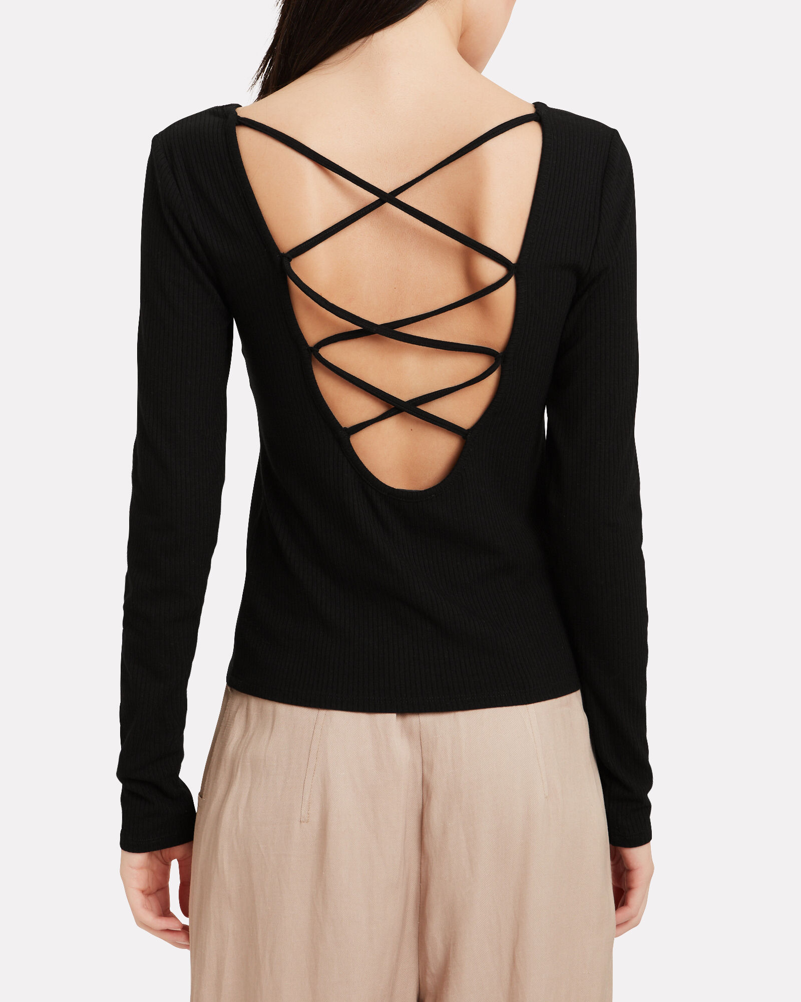 Alessia Lace Up Top, BLACK, hi-res