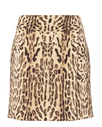 Wool Leopard Mini Skirt, PRINT, hi-res
