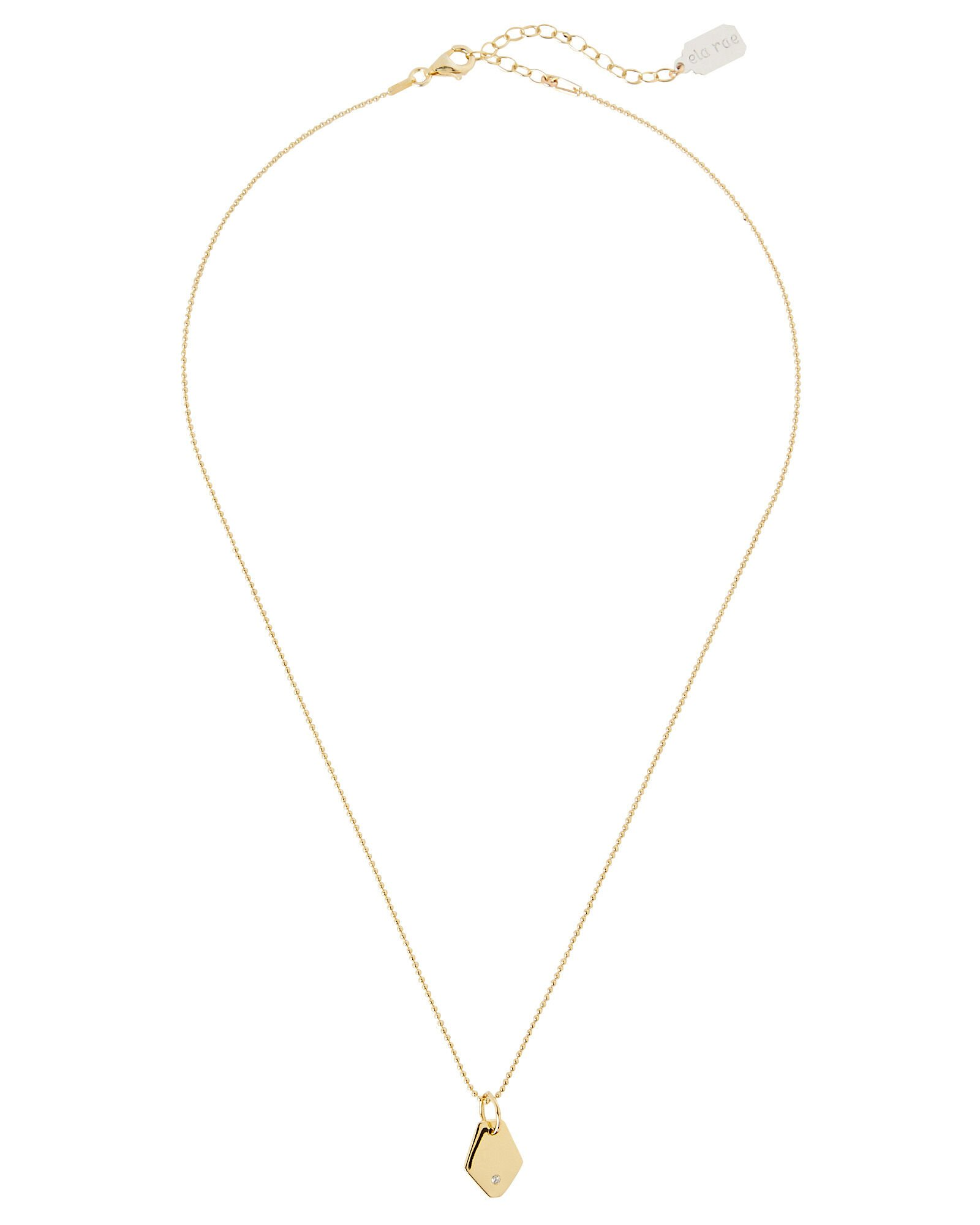Ball Chain Pendant Necklace, GOLD, hi-res
