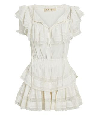 Liv Ruffled Cotton Mini Dress, WHITE, hi-res